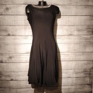 NWT black Fit and Flare dress with silver detail
